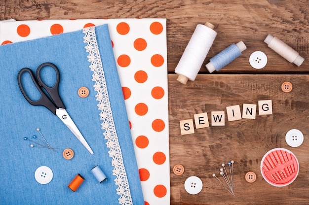 Jeans and cotton fabric for sewing, lace and accessories for needlework