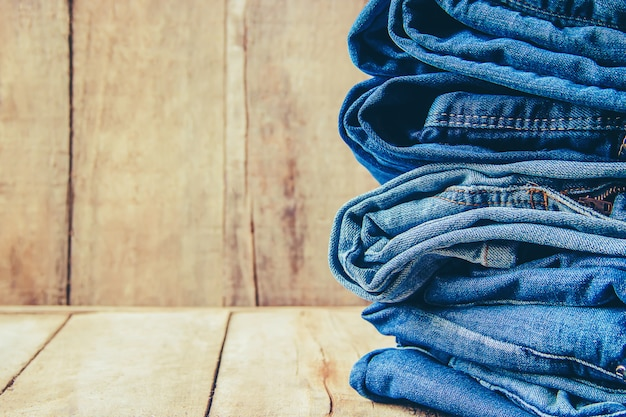 Jeans. stylish clothes. selective focus. shopping time.