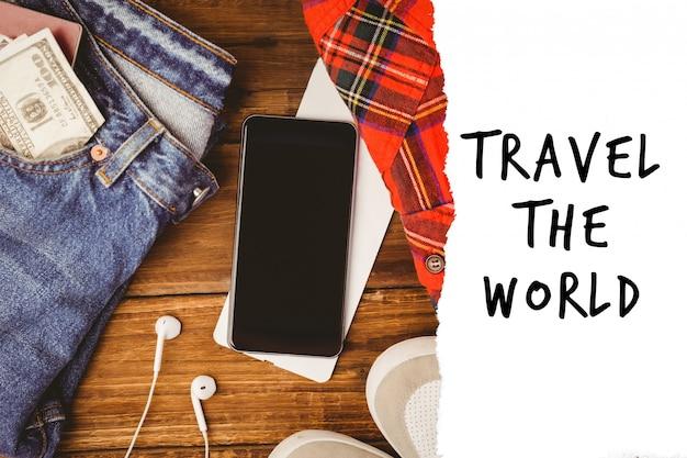 ジーンズ、電話、旅行にメッセージ