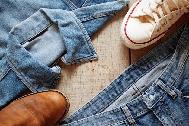 Jeans on a wooden floor.