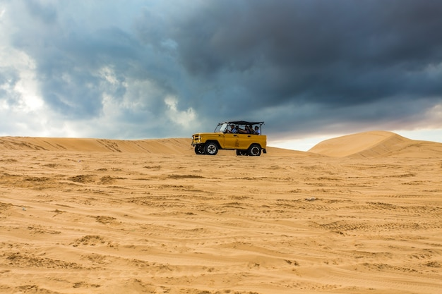 Jeep trail on the white sand dunes mui ne