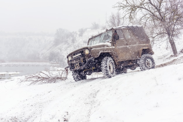 Jeeps compeating in winter rally competition
