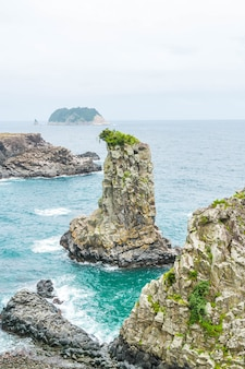 Jeju-do oedolgae rock (famous natural landmark) in jeju island,