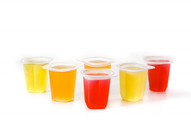 Jellies of different flavors and colors isolated