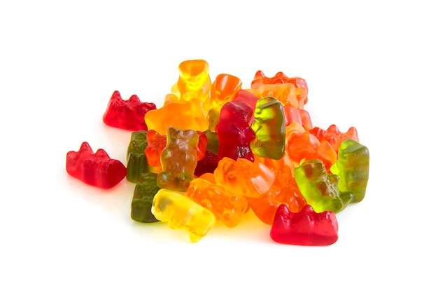 Jelly bear shape gummy candy mix fruit flavour  side view isolated on white background