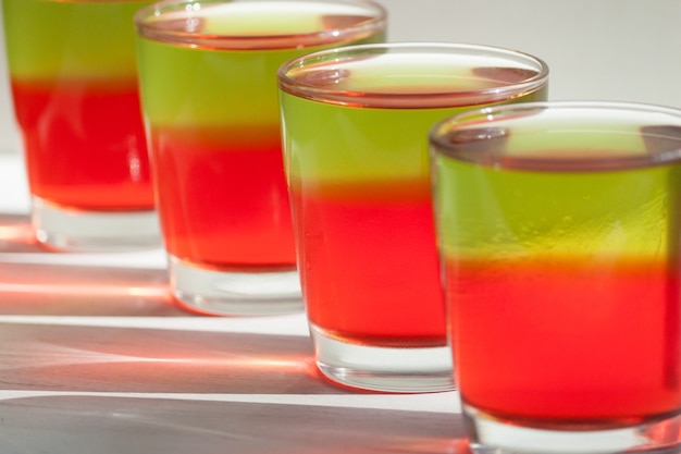 Jelly in glasses. summer dessert, background concept.