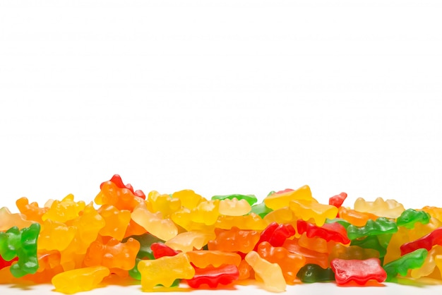 Jelly sweats bears isolated on white background, copy space.