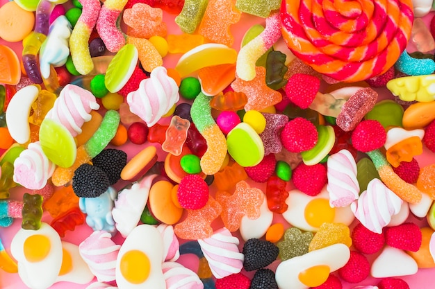 Jelly worms and marshmallows