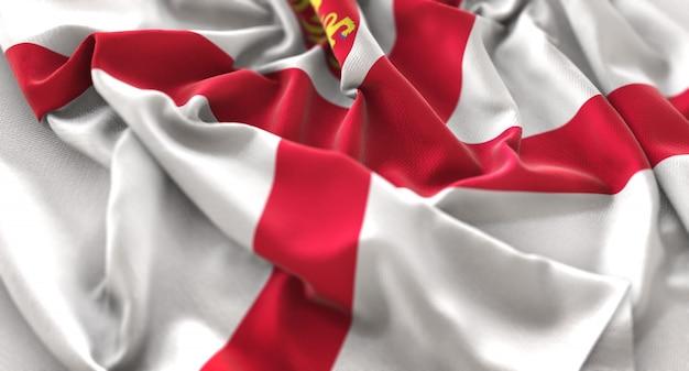 Jersey flag ruffled beautifully waving macro close-up shot