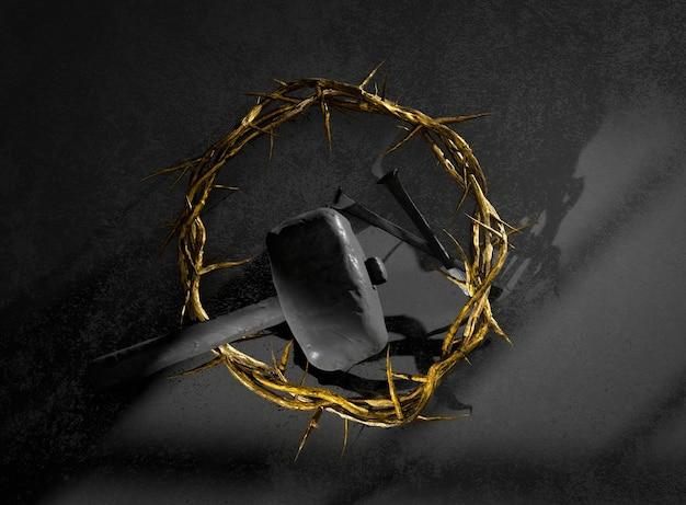 가시 못의 예수 그리스도 왕관과 부활의 망치 상징 3d 렌더링