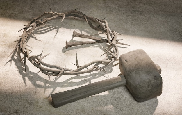 Jesus christ crown of thorns nails and hammer 3d rendering
