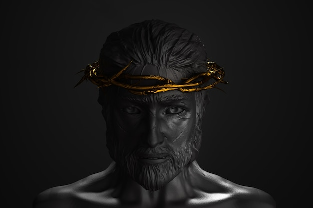 Jesus christ statue with gold crown of thorns 3d rendering front side