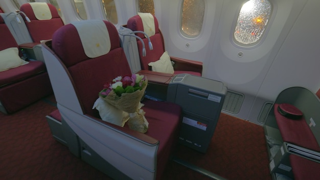 Jet airplane interior view first class
