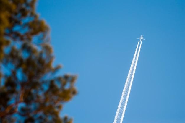 Реактивный самолет, летящий в голубом небе с размытыми деревьями не в фокусе