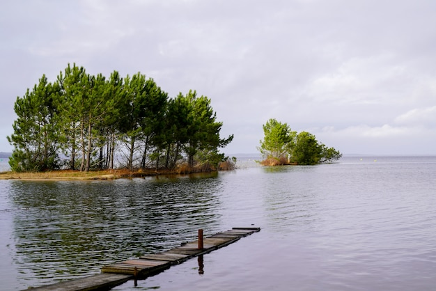 Jetty on the lake of sanguinet biscarosse in landes france