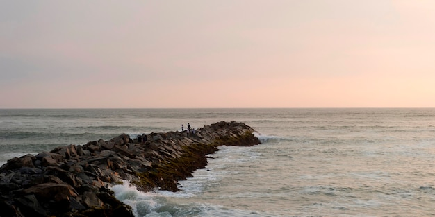 Jetty at ocean, miraflores district, lima province, peru