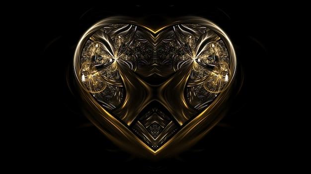 ジュエルハートゴールドジュエリー、バレンタインデーハート。ハートの3dレンダリング、コピースペースのモックアップポスター