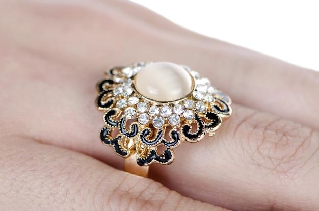 Ювелирное кольцо на пальце