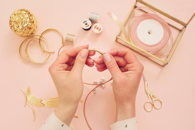 Jewelry designer beading bracelet.