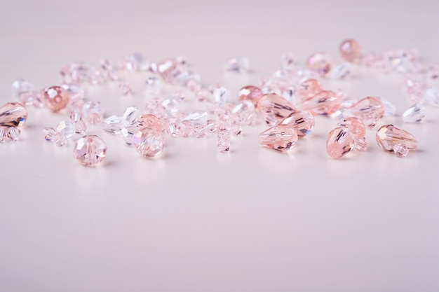 Jewelry gems beads pink and white colors