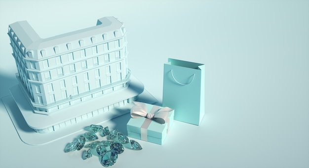 보석상 건물, 선물 상자 및 종이 봉지, 보석 및 다이아몬드. 3d 그림