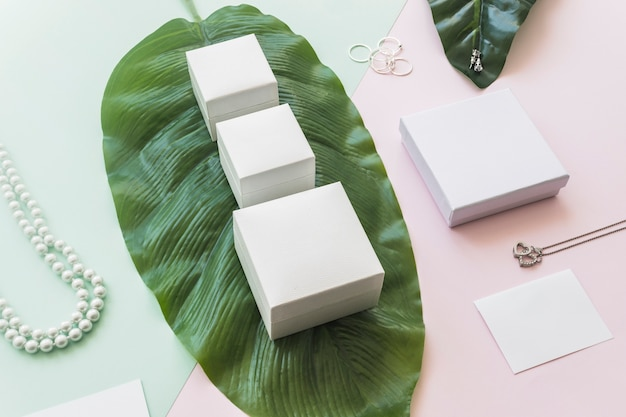 Jewelry with white boxes on green leaf over the paper backdrop