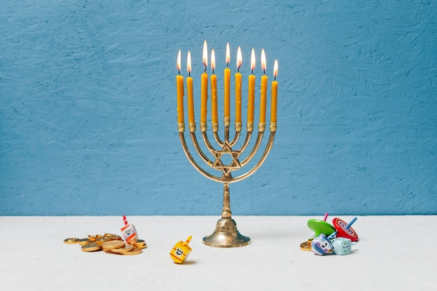 Jewish candlestick holder burning