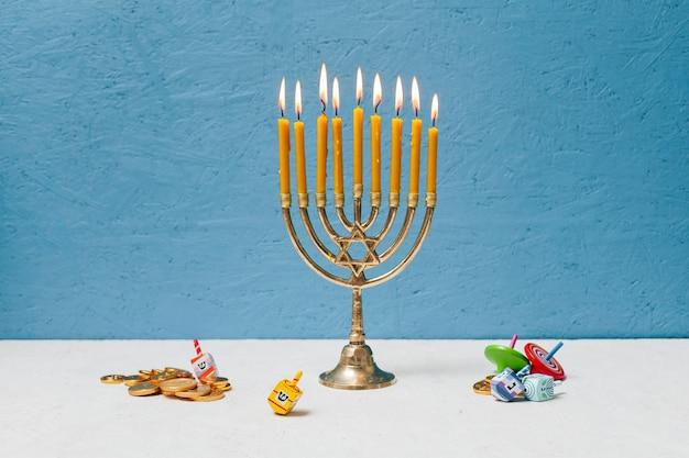 Jewish candlestick holder burning