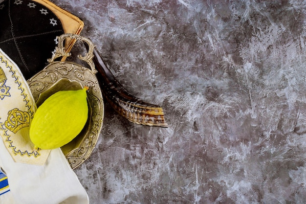 Еврейский фестиваль традиционных символов суккот четырех видов в этроге, лулаве, хадасе, араве