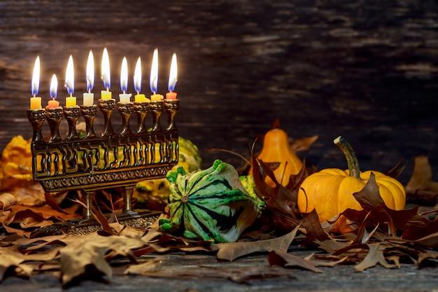 Jewish holiday hannukah symbols menorah. copy space background.