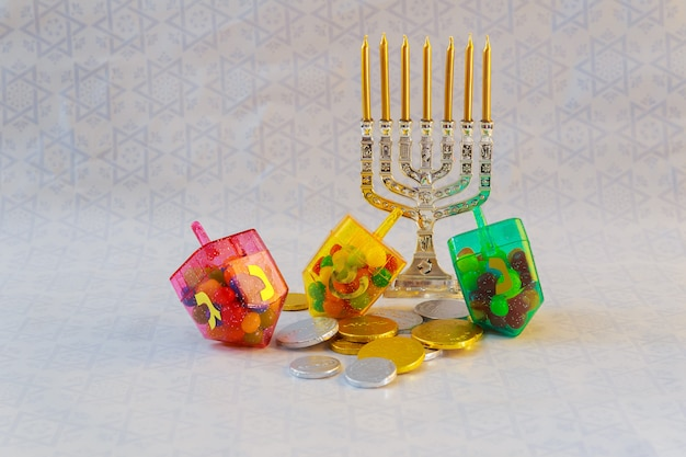 Jewish holiday hanukkah celebration tallit vintage menorah