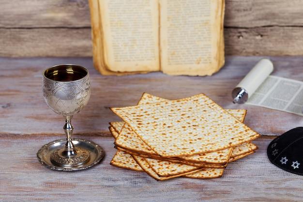 Jewish holiday passover with matzah, and wine.