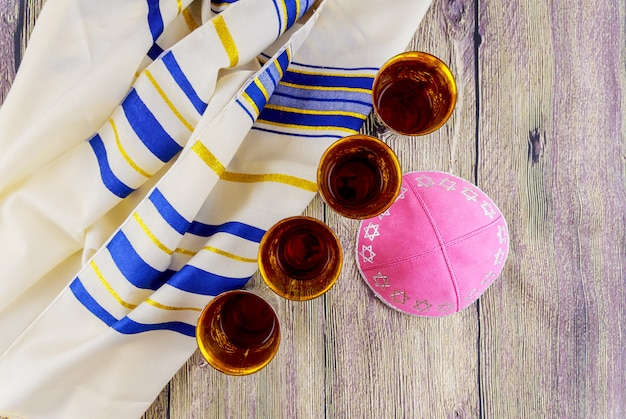 Jewish holiday sabbath prayer shawl tallit table set for shabbat