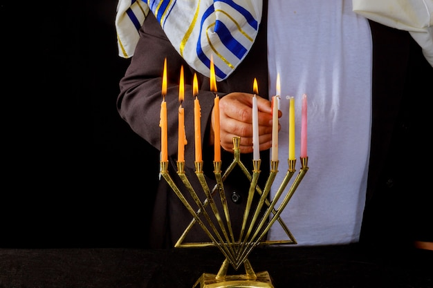 Jewish man blessings chanukah menorah traditional hanukkah