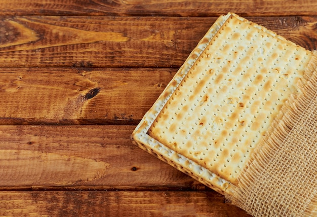A jewish matzah bread with passover holiday concept