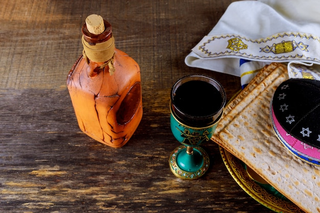 A jewish matzah bread with wine. passover holiday concept