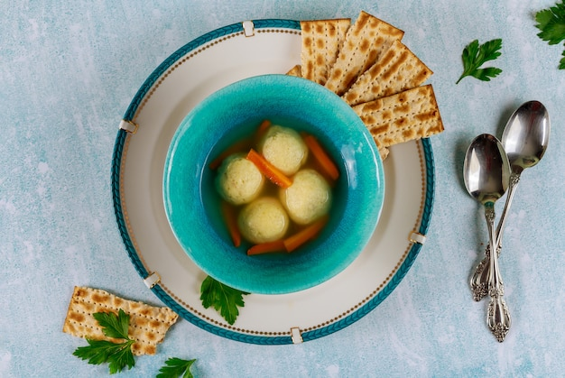 Jewish matzo ball soup for passover.