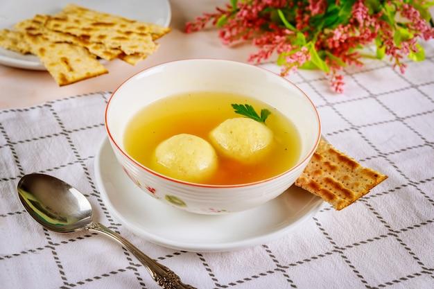 Jewish matzo ball soup for passover