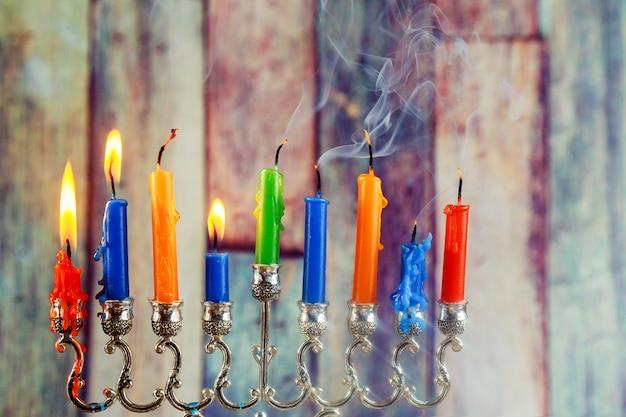 유대인 상징 하누카 유대인 휴일의 빛 상징의 유대인 축제
