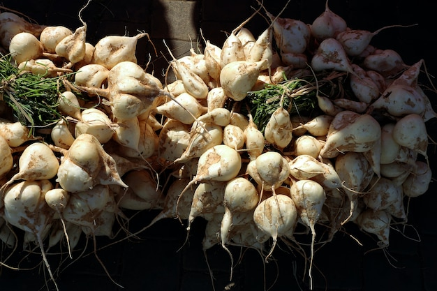 Jicama, crisp fresh and sweet taste fruit in local market thailand.