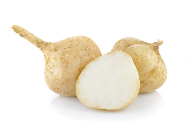 Jicama on white background
