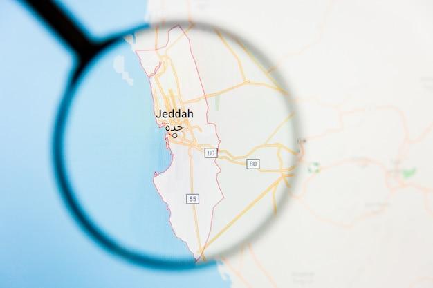 サウジアラビア、ジッダ市の拡大鏡によるディスプレイ画面の視覚化の例示的な概念