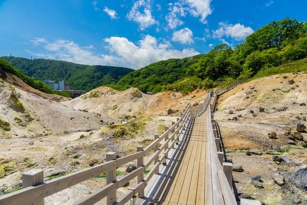 Jigokudani valley and blue sky in summer, noboribetsu, hokkaido, japan