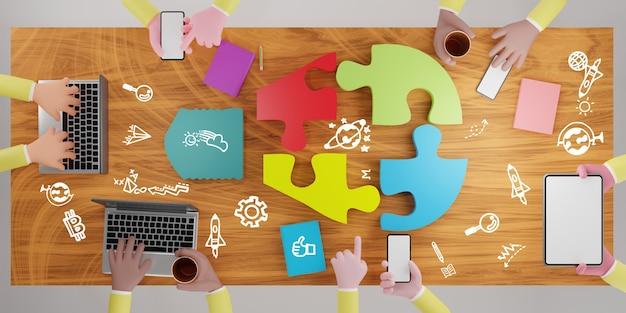 책상에 직소 퍼즐 전구입니다. 브레인스토밍과 팀워크에 대한 개념입니다. 3d 렌더링