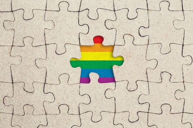 Jigsaw puzzle piece and rainbow flag