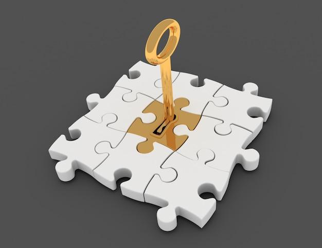 Jigsaw puzzle piece with key in keyhole.