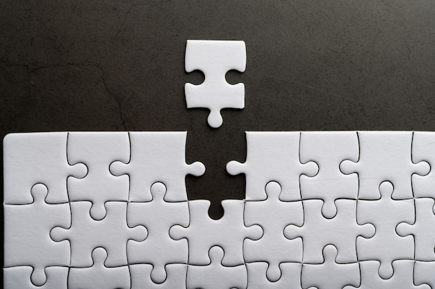 Jigsaw puzzle with missing piece. missing puzzle pieces