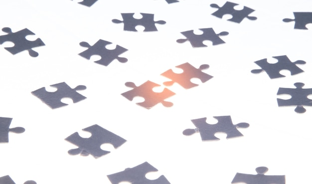 Jigsaw puzzles on the white background.
