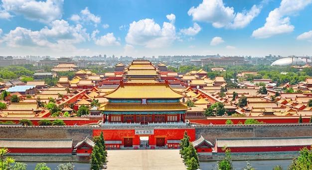 Парк цзиншань, панорама запретного города в пекине. китай