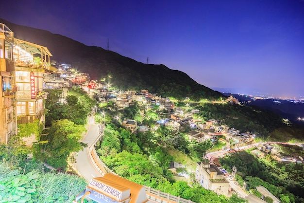 Jiufen village a mountain village in taipei which is famous for teahouses  in taipei, taiw